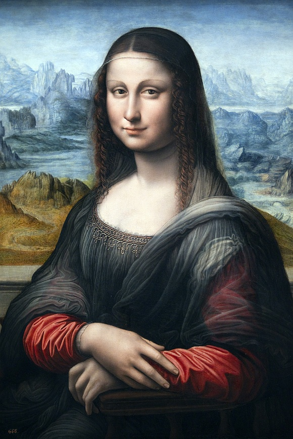A copy of Leonardo Da Vinci's famous Mona Lisa painting from Madrid's El Prado Museum is pictured at the Louvre museum in Paris