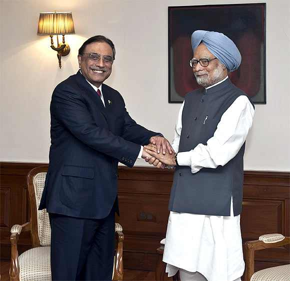 Prime Minister Manmohan Singh and Zardari met in New Delhi ahead of the Pakistan President's visit to the Ajmer Sharif Dargah in Rajasthan on April 8