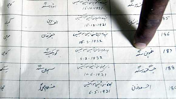 A finger points to the name of Dr Singh on a register record of a primary school in the Pakistan town of Gah, some 80 km southwest of Islamabad