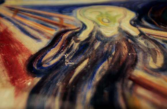 A close up view shows the damage on 'The Scream' at Munch Museum in Oslo September 26, 2006. The painting was recovered by the police in August 2006, two years after they were stolen by two masked gunmen