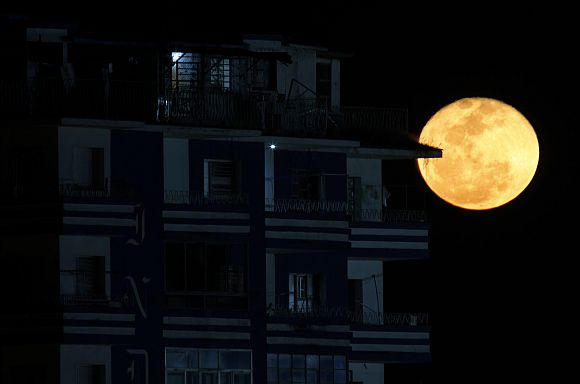 File picture of a Super Moon seen near a building in Havana, Cuba