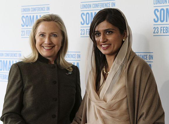 Hillary with Pakistani Foreign Minister Hina Khar