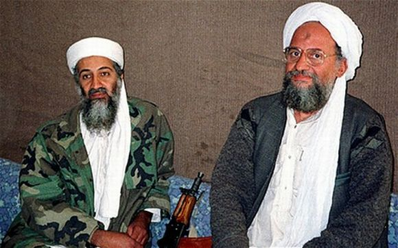 A file photo of Osama bin Laden with Zawahiri