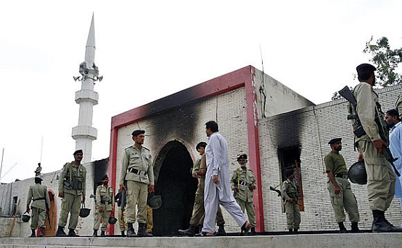 Security personnel outside the Lal Masjid in Islamabad