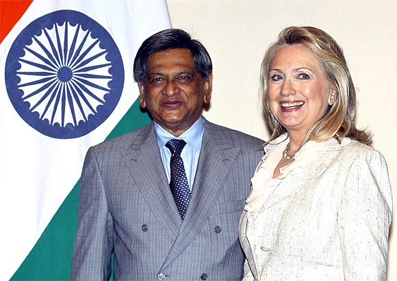 US Secretary of State Hillary Clinton with External Affairs Minister S M Krishna