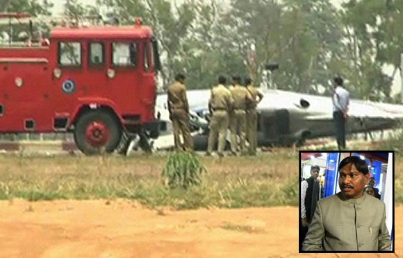 Chopper of Jharkhand CM Arjun Munda (inset) crash landed at Ranchi airport
