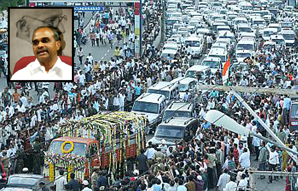 Thousands join the funeral procession of Y S Rajasekhara Reddy (inset) who was killed in an air crash in September 2009