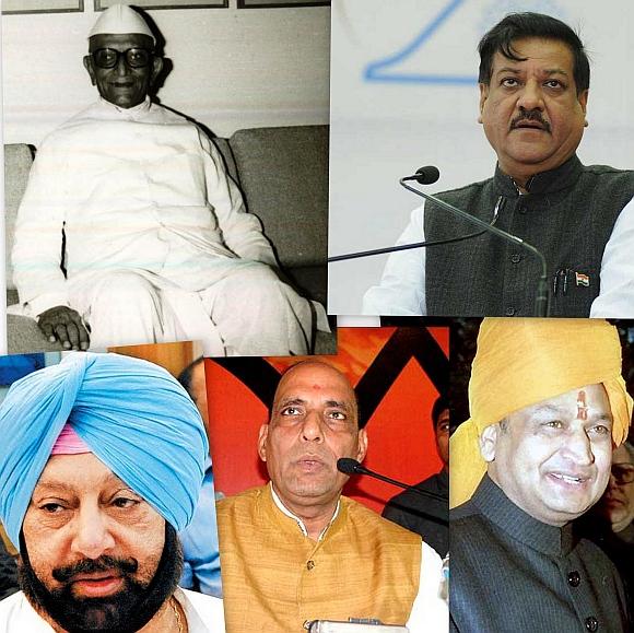 (Clockwise) Morarji Desai, Prithviraj Chavan, Ashok Gehlot, Rajnath Singh, Amarinder Singh