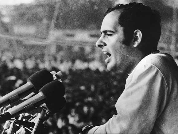 Sanjay Gandhi addressing a public meeting during a visit to the West Bengal, June 2 1976