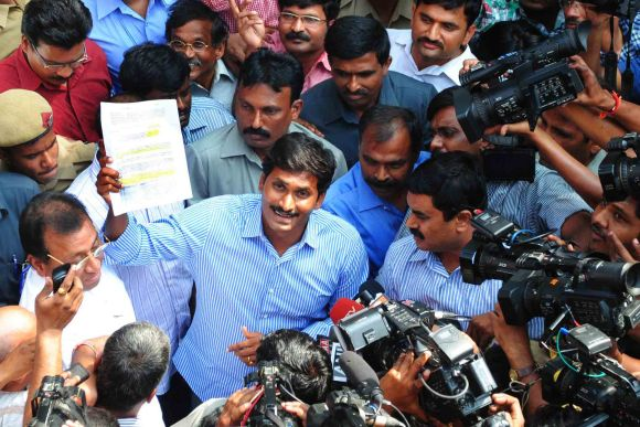 A file photograph of Jagan addressing media after coming out of a court in Hyderabad