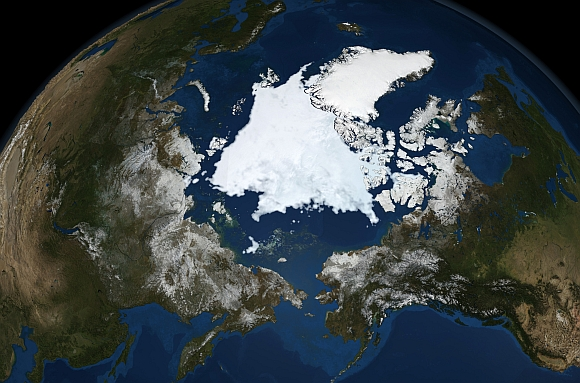 The Advanced Microwave Scanning Radiometer, a high-resolution passive microwave Instrument on NASA's Aqua satellite, shows the state of Arctic sea ice in this file image released on September 16, 2008