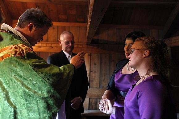 Dufa Drofn Asbjornsdottir and Diana Dogg Hreinsdottir attend their wedding in Reykjavik