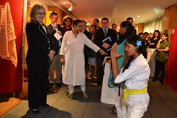 US Secretary of State Hillary Rodham Clinton attends the Anti-Trafficking Champions Event in Kolkata