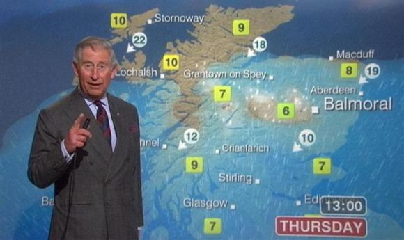 Prince Charles presents a special weather forecast during a visit to BBC Scotland's headquarters in Glasgow