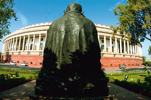 The Gandhi statue in Parliament premises