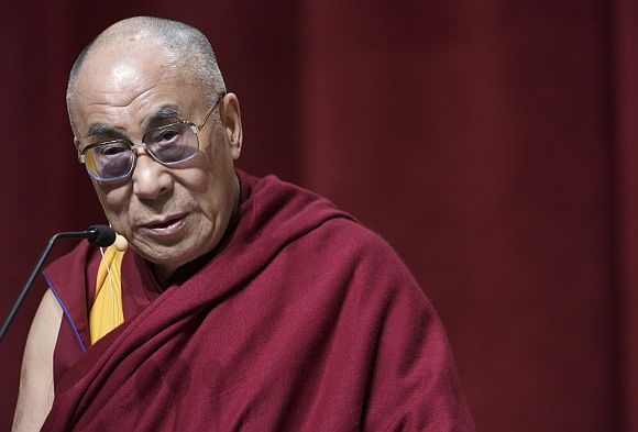 File picture of the Dalai Lama speaking at Chicago's Loyola University