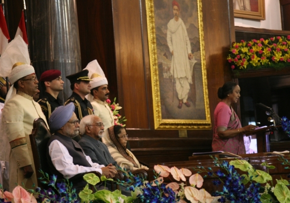 Speaker Meira Kumar addresses the gathering at the  function to mark the 60th Anniversary of Parliament