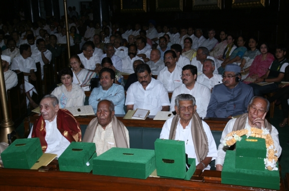 Rishang Keishing, MP (Rajya Sabha), Resham Lal Jangde,  Kandala Subrahmanyam and Kanety Mohana Rao, all members of the first Lok Sabha, after felicitations at the function