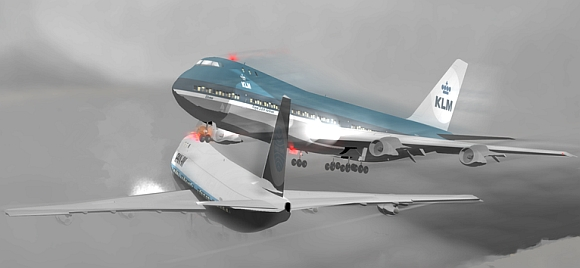 A CGI rendering of the two 747s that were destroyed in the Tenerife Disaster, just seconds before the collision
