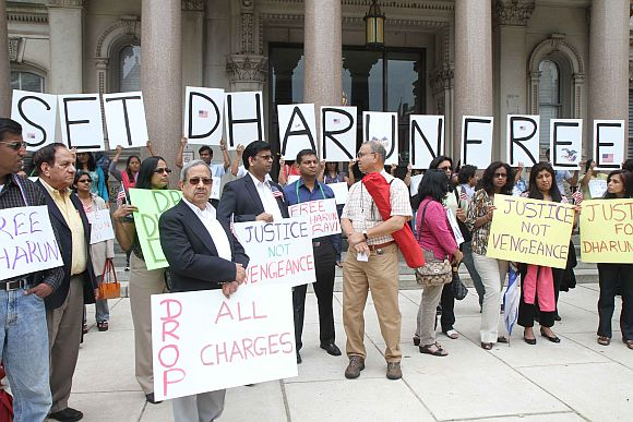 Members of the Indian American community and others protest against hate crime charges against Dharun Ravi, in New Jersey on Monday