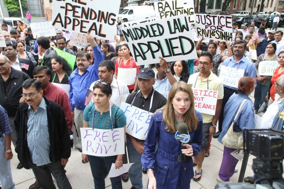 Indian Americans protesting against hate crime charges against Dharun Ravi, in New Jersey