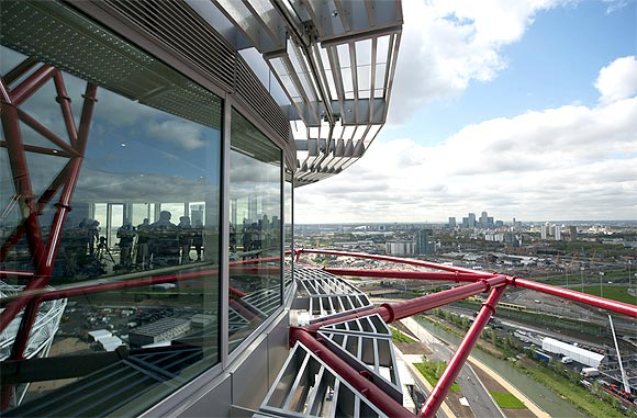 The London skyline is seen from the top of the ArcelorMittal Orbit in the London 2012 Olympic Park in east London