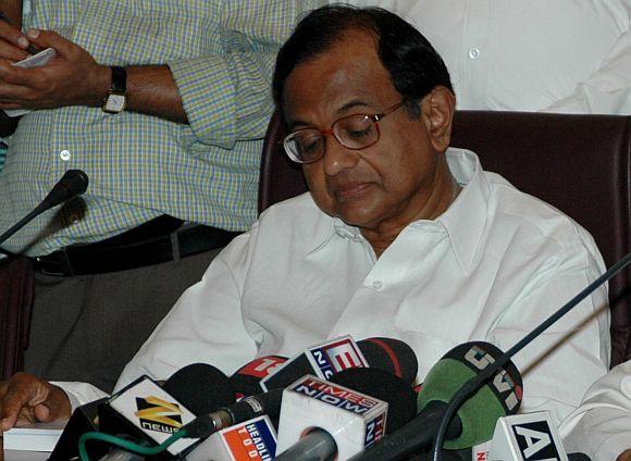 P Chidambaram addresses a press conference
