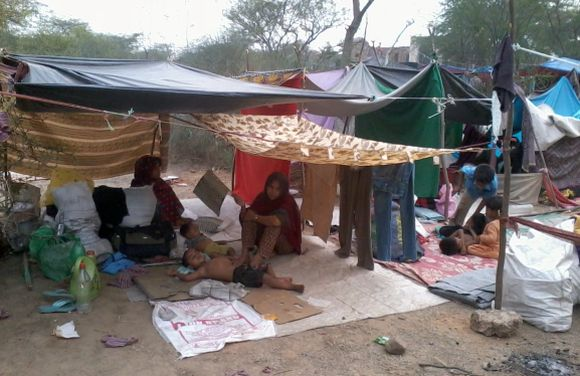Refugee camp near Sultan Garhi Dargah in south Delhi