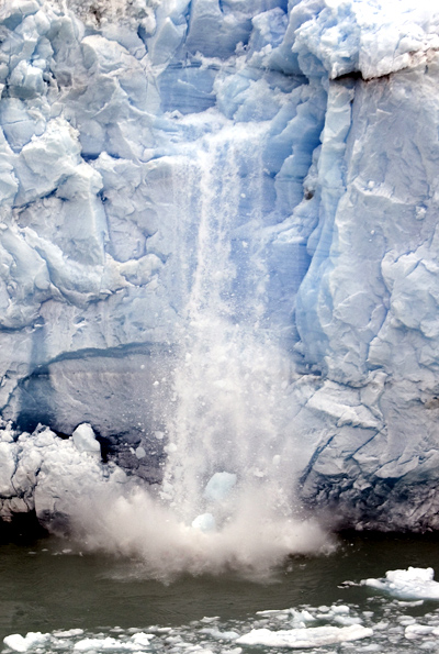 Pieces of ice fall from the Perito Moreno glacier near the city of El Calafate, in the Patagonian province of Santa Cruz