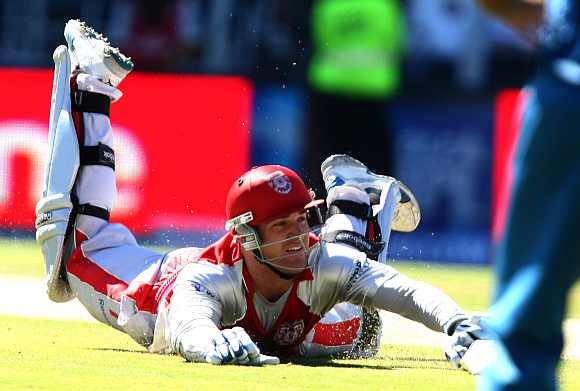 Luke Pomersbach during a Kings XI came. The cricket played for the Punjab team before he joined Royal Challengers Bangalore