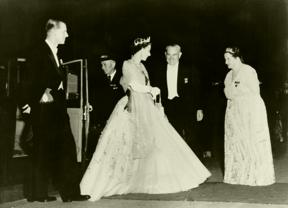 Queen Elizabeth II and Prince Philip, Duke of Edinburgh (left) are greeted by Premier of New South Wales Joseph Cahill (1891 - 1959) and his wife Esmey before a State Banquet in Sydney, Australia. Picture taken on February 8, 1954