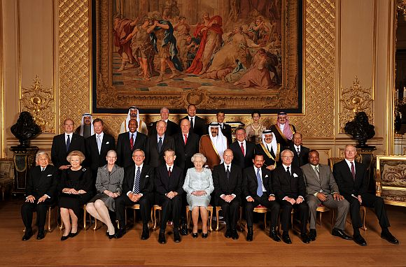 Emperor Akihito of Japan, Queen Beatrix of The Netherlands, Queen Margrethe II of Denmark, King Constantine of Greece, King Michael of Romania, HM , Simeon Borisov of Saxe-Coburg and Gotha, Sultan of Brunei Hassanal Bolkiah, King Carl Gustaf XVI of Sweden, HM the King of Swaziland, and Prince Hans-Adam II of Liechtenstein, (middle row L - R) HSH Prince Albert II of Monaco, Grand Duke Henri of Luxembourg, King Letsie III of Lesotho, King Albert of Belgium, King Harald V of Norway, Emir of the State of Qatar Sheikh Hamad Bin Khalifa Al-Thani, King Abdallah II of Jordan, King of Bahrain Hamad ibn Isa Al Khalifa, The Yang di-Pertuan Agong of Malaysia, (top row, L - R) Nasser Mohamed Al-Jaber Al-Sabah of Kuwait, Crown Prince of Abu Dhabi, HRH the Crown Prince Alexander II of Yugoslavia, King George Tupou V of Tong, Crown Prince Vajiralongkorn of Tahiland, Princess Lalla Meryem of Morocco and HRH Prince Mohammed bin Nawaf bin Abdulaziz Al Saud of Saudi Arabia before her Sovereign Monarch's Jubilee lunch, in the Grand reception room at Windsor Castle on May 18, 2012 in Windsor, England