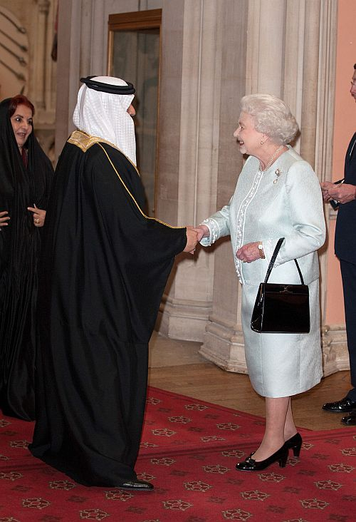 King of Bahrain Hamad ibn Isa Al Khalifa is greeted by Queen Elizabeth II as he arrives at a lunch for Sovereign Monarch's held in honour of Queen Elizabeth II's Diamond Jubilee, at Windsor Castle, on May 18, 2012 in Windsor, England