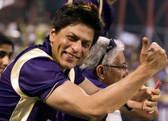 Shah Rukh cheers his team during an IPL match