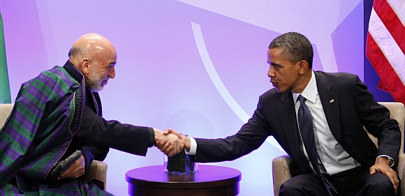 US President Barack Obama with Afghanistan President Hamid Karzai at the NATO Summit in Chicago