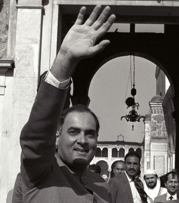 File image of Rajiv Gandhi waving to the public during a visit to Damascus, Syria