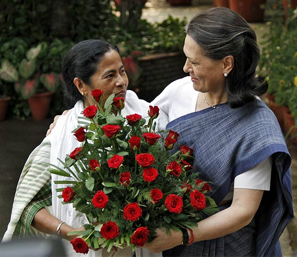 Mamata Banerjee with Congress president Sonia Gandhi