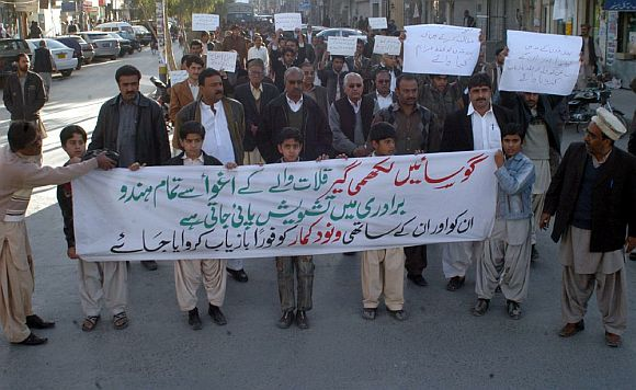 Baloch Hindus stage a protest in front of the Quetta Press Club to demand safe recovery of kidnapped people