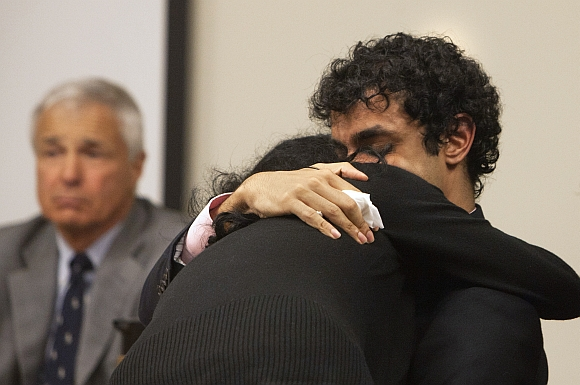 Dharun Ravi hugs his mother, Sabitha Rav, during a sentencing hearing for his conviction in using a webcam to invade the privacy of his roommate, Tyler Clementi, and another man in their college dorm room, in New Brunswick, New Jersey