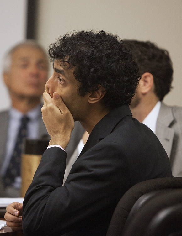 Dharun Ravi wipes his face during a sentencing hearing for his conviction
