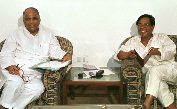 Nationalist Congress Party leaders Sharad Pawar and PA Sangma