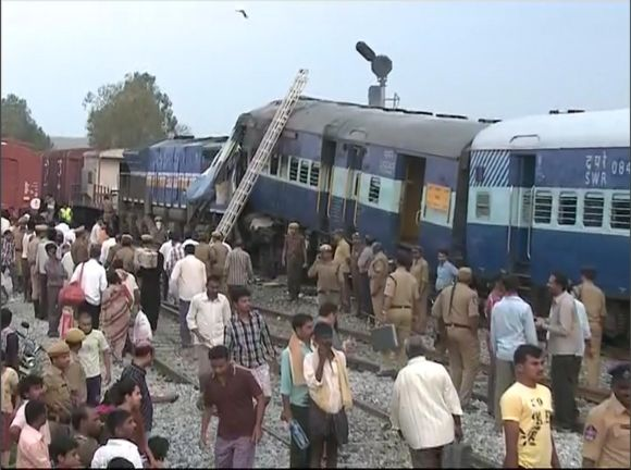 Bengaluru-bound Hampi Express that collided with a stationary goods train at Penneconda station