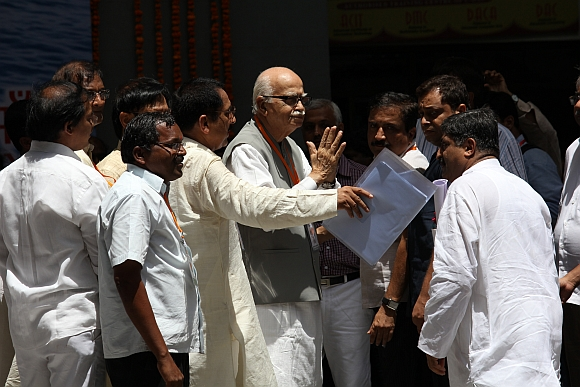 Senior BJP leader LK Advani arrives at the national executive