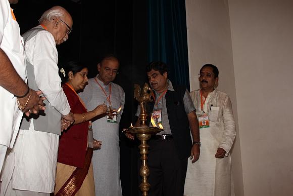 Senior BJP leaders (from left) LK Advani, Sushma Swaraj and Arun Jaitley