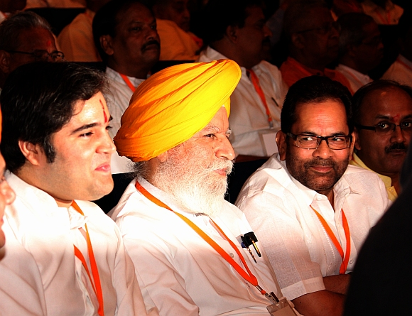 (from left) BJP MP Varun Gandhi, Rajya Sabha MP S S Ahluwalia and BJP general secretary Mukhtar Abbas Naqvi