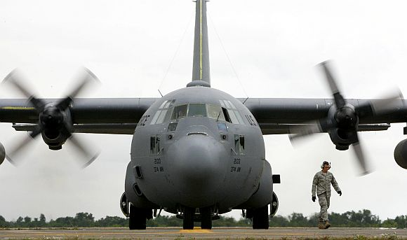 An American C-130 transport plane, which have been bought by India