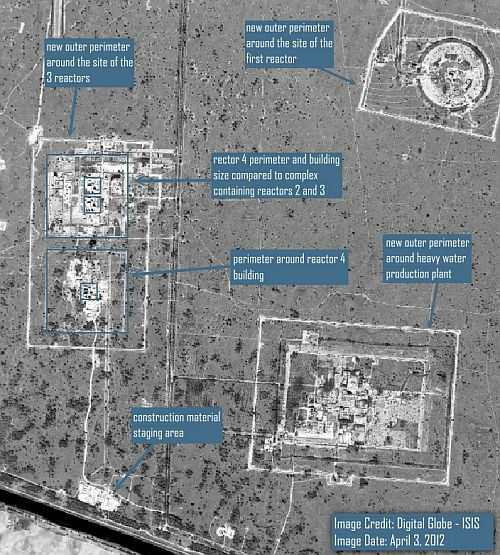 Wide area view of the Khushab nuclear complex showing the new security perimeters around all three major sites in the complex and a comparison between the reactor 2 and 3 facility and the reactor 4 facility.