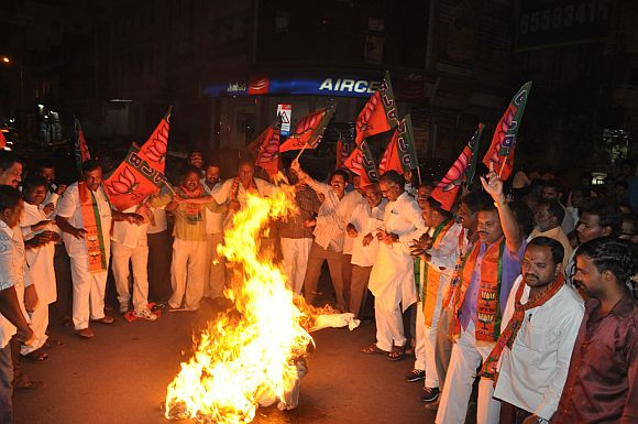 BJP workers burning an effigy in Hyderabad