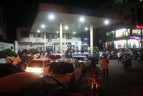 People line up at petrol pump in Hyderabad
