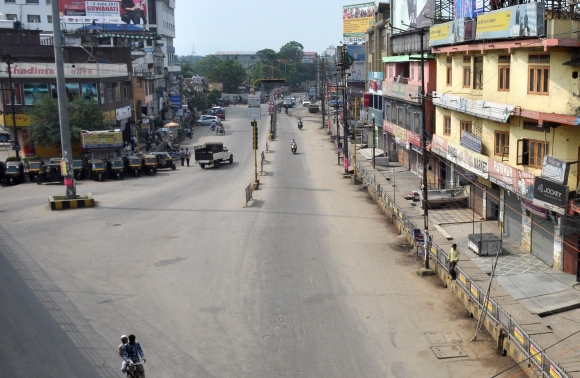 The deserted streets of Guwahati